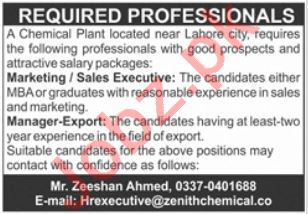 Zenith Chemical Plant Jobs in Lahore