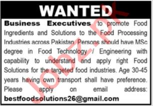 Business Executive Jobs in Lahore