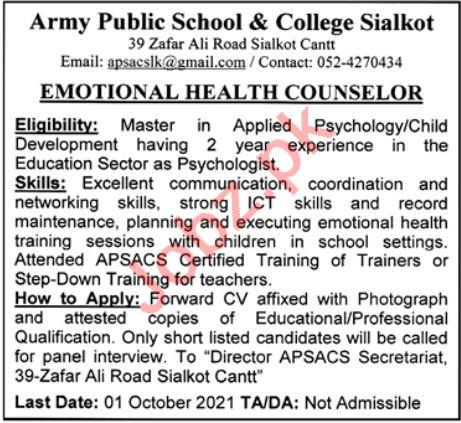 Army Public School & College Sialkot Jobs 2021