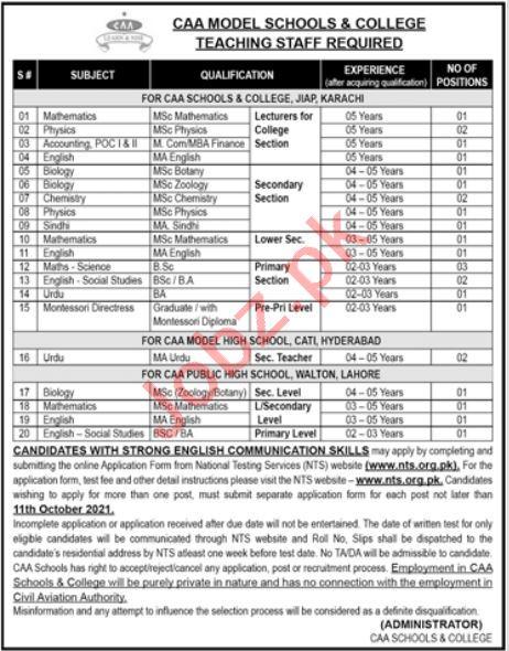 CAA Model School & College Karachi Jobs 2021 Via NTS