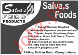 Salva Foods Jobs in Lahore