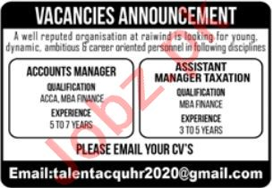 Accounts Manager Assistant Manager Taxation Jobs in Lahore