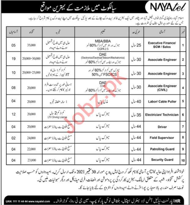 Nayatel Jobs 2021 In Sialkot