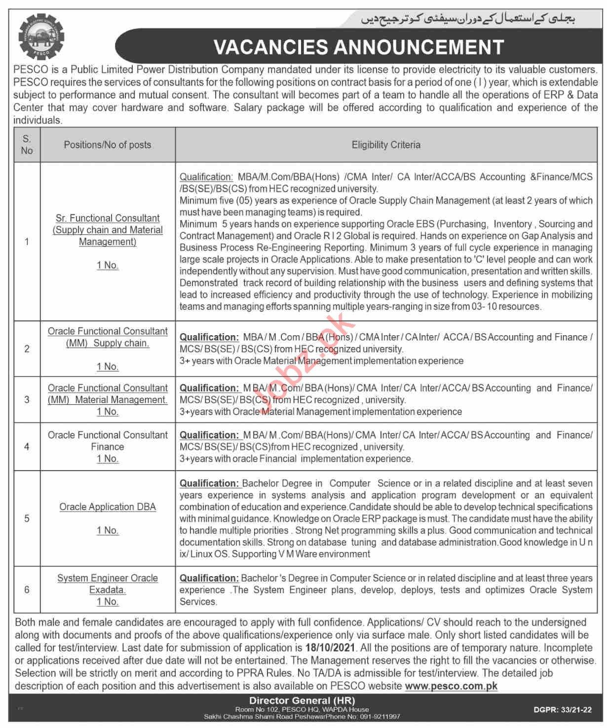 Peshawar Electric Supply Company PESCO Jobs 2021 Consultants
