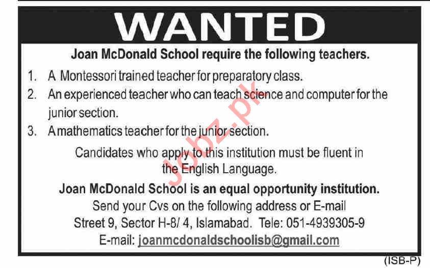 Joan McDonald School Islamabad Jobs 2021 for Teachers