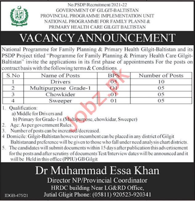 National Program for Family Planning Gilgit Jobs 2021 Driver