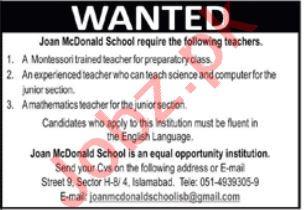 Joan McDonald School Islamabad Jobs 2021 for Teaching Staff