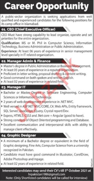 Chief Executive Officer & Manager Admin Jobs 2021