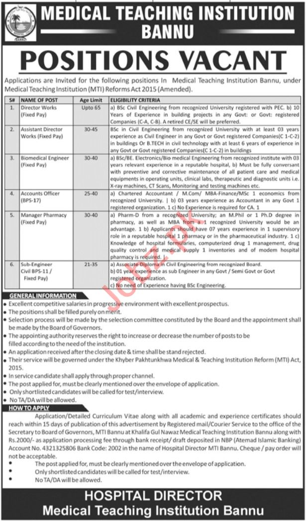Medical Teaching Institution MTI Bannu Jobs 2021 Engineers