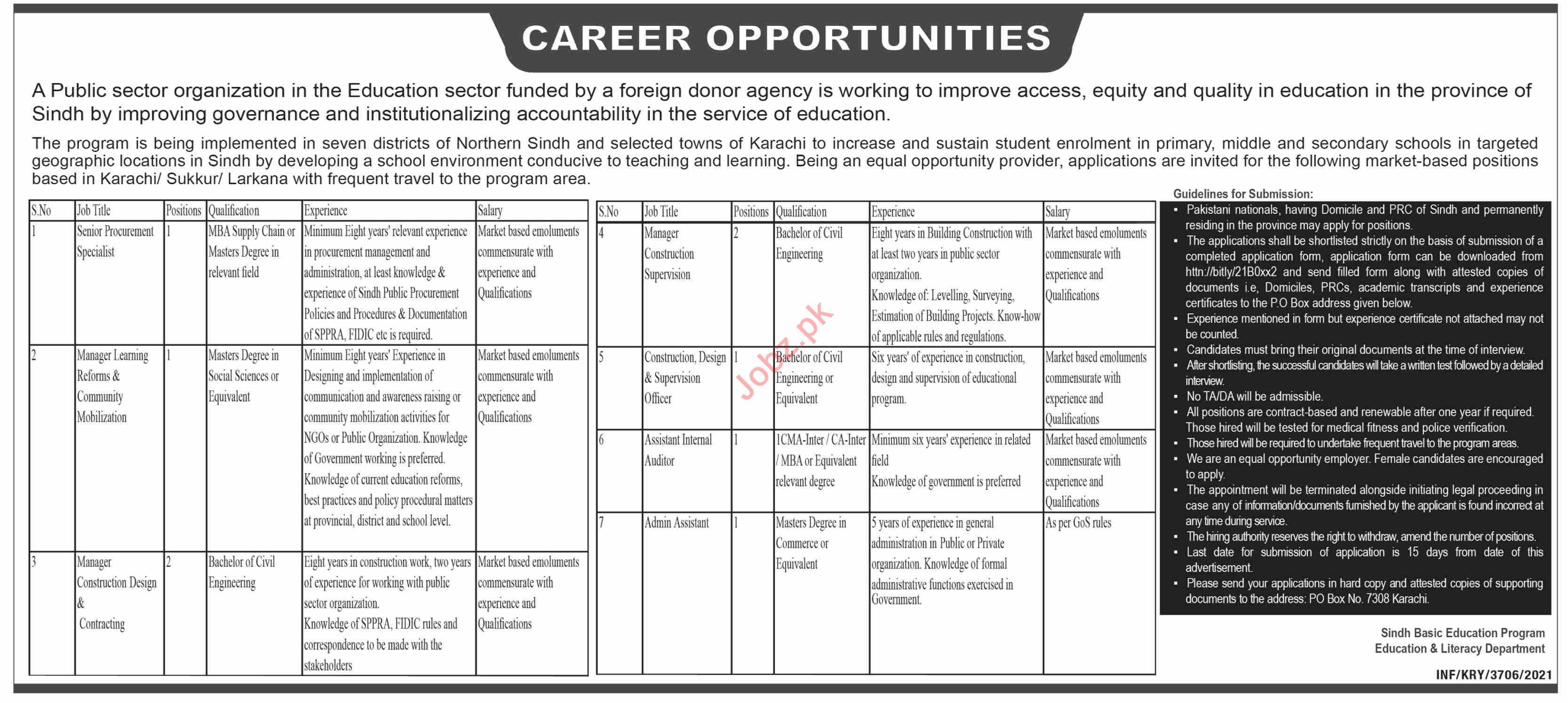 Sindh Basic Education Program SBEP Karachi Jobs 2021