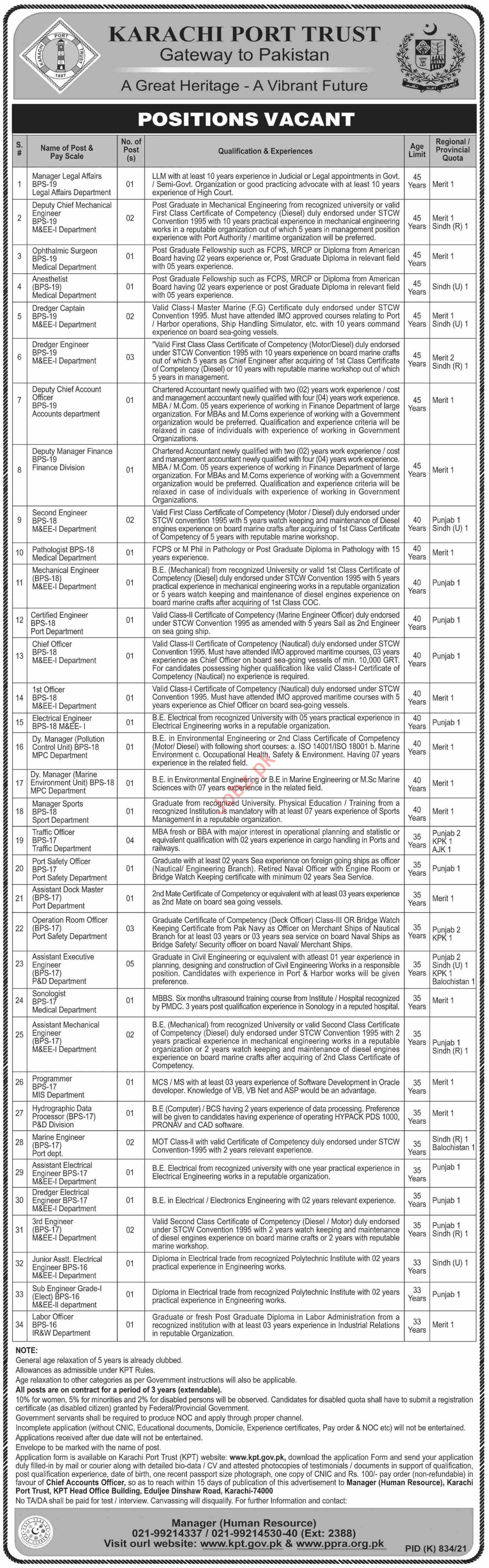 Karachi Port Trust KPT Jobs 2021 Traffic Officer & Engineer