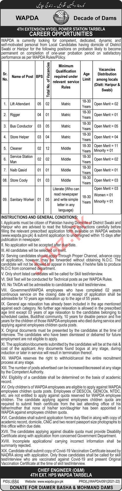 WAPDA Hydel Power Station Tarbela Jobs 2021