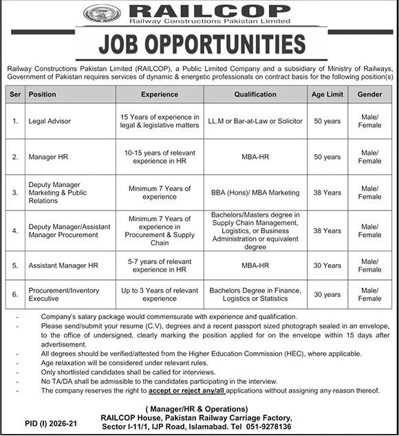 Advertisement Pak Railway Jobs 2021