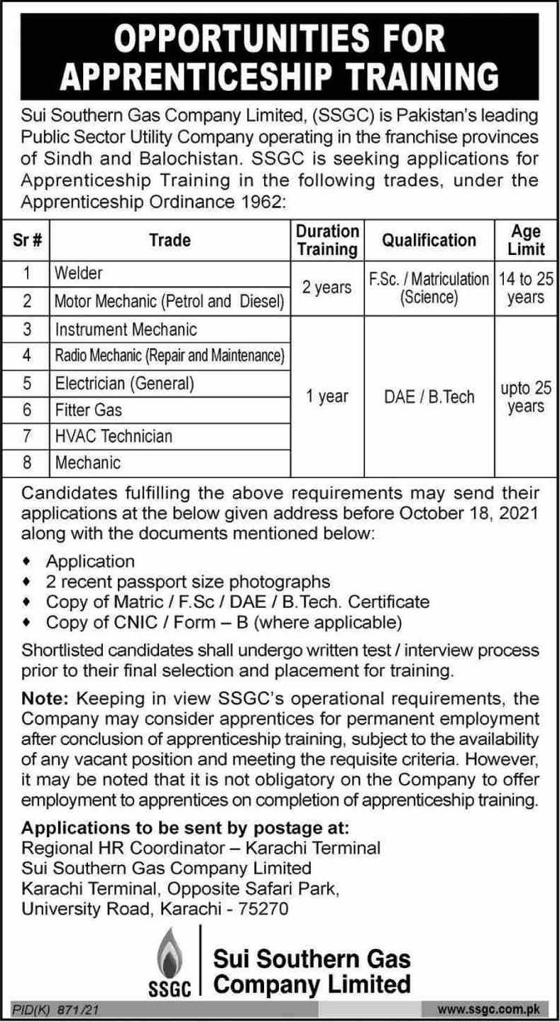 Sui Southern Gas Company Limited Apprenticeship 2021