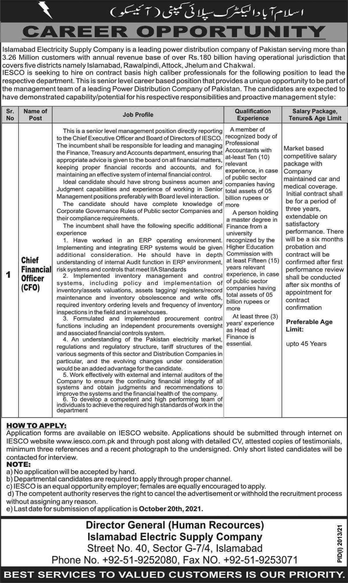 IESCO Islamabad Electric Supply Company Jobs 2021