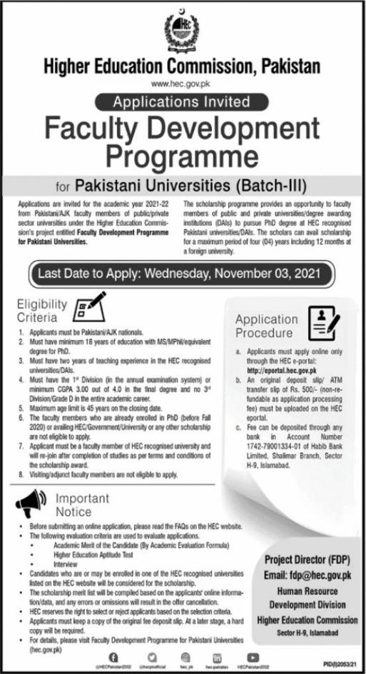 Higher Education Commission HEC Faculty Development Program