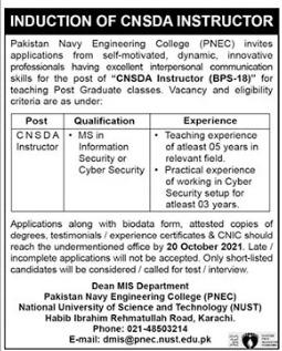 Pakistan Navy Engineering College CNSDA Instructor Jobs 2021