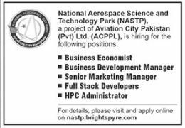 National Aerospace Science and Technology Park Jobs 2021