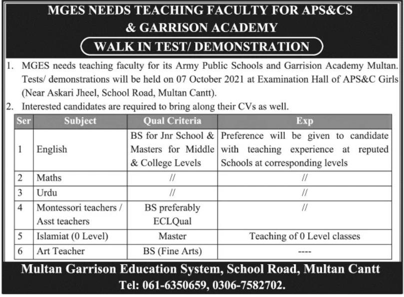 Multan Garrison Education System Jobs 2021