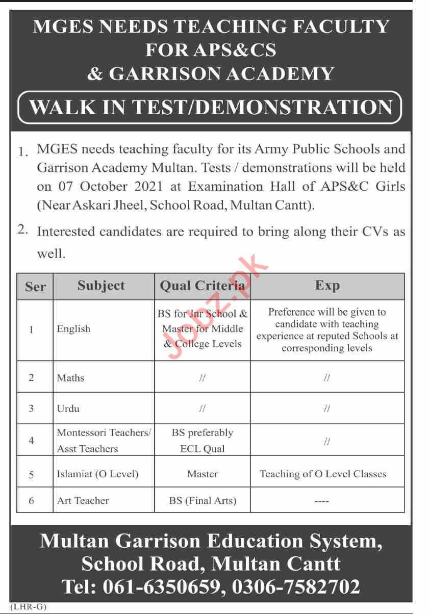 Army Public School & College for Boys and Girls Multan Jobs