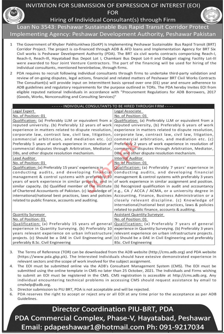 Peshawar Development Authority PDA Jobs 2021 Legal Expert