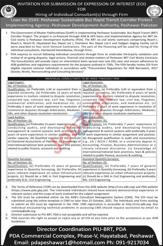 Peshawar Development Authority PDA Jobs 2021 Lead Auditor
