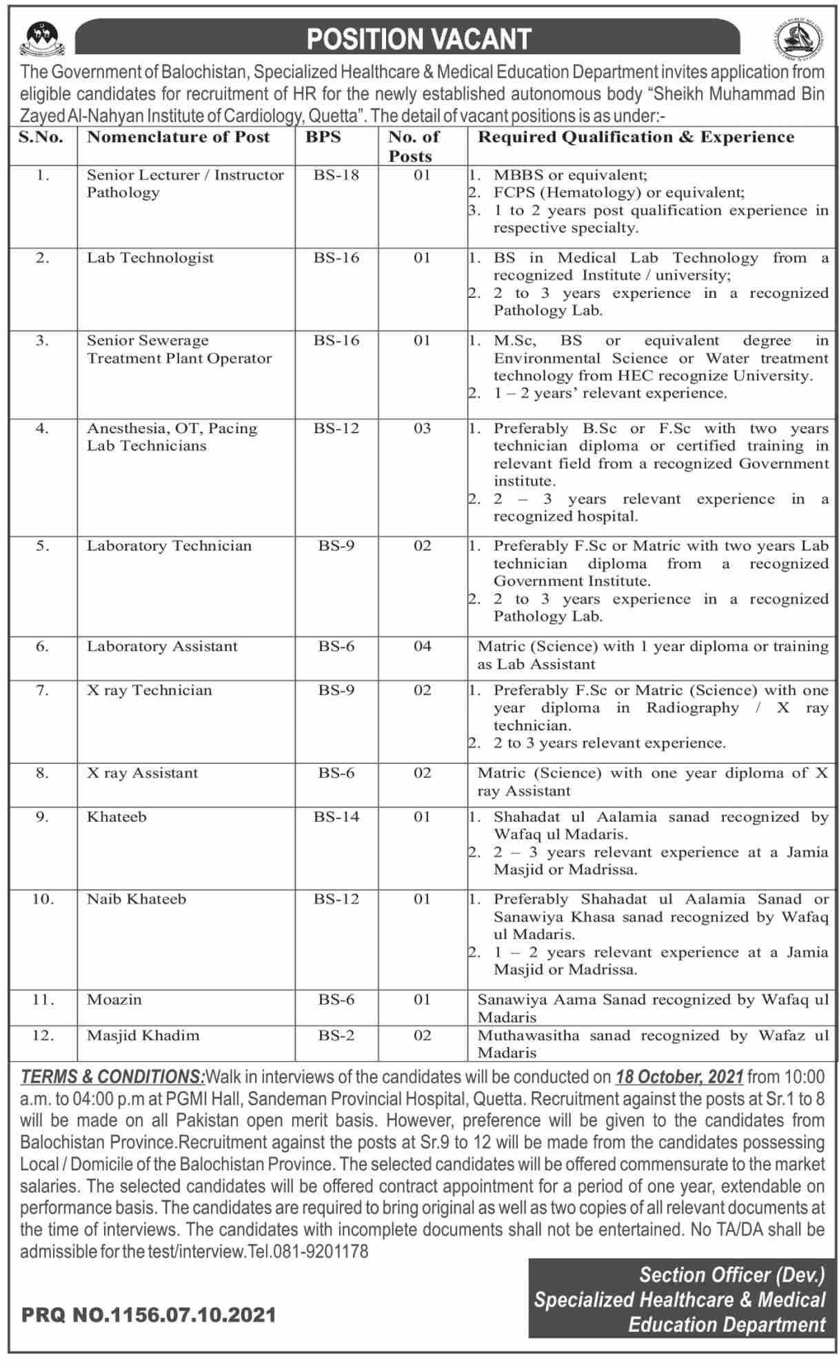 M. Bin Zayed Al Nahyan Institute of Cardiology  Quetta Jobs