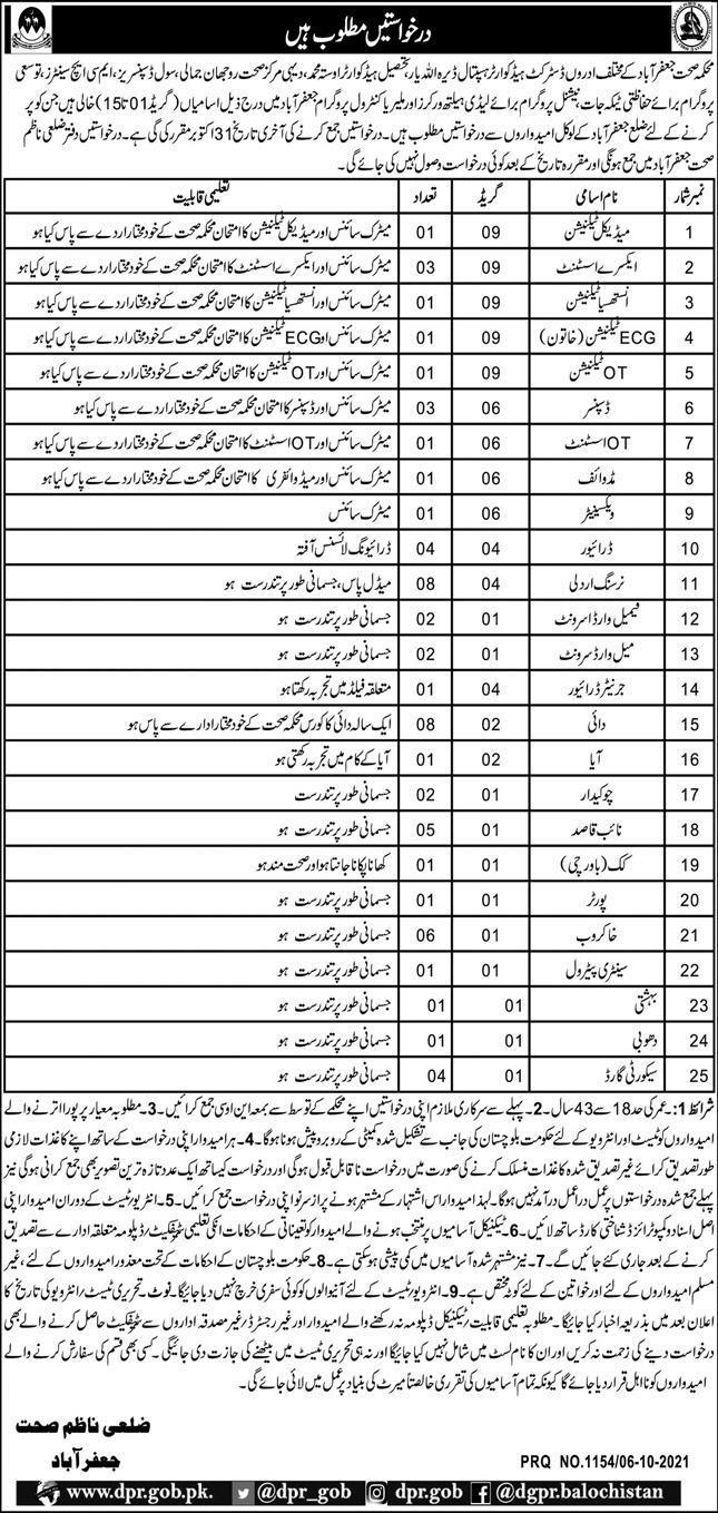 Health Department Jafarabad Balochistan Jobs 2021