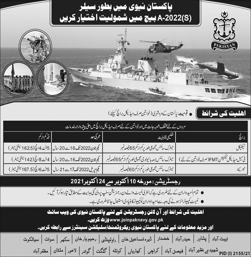 Pakistan Navy Jobs 2021 as Sailor