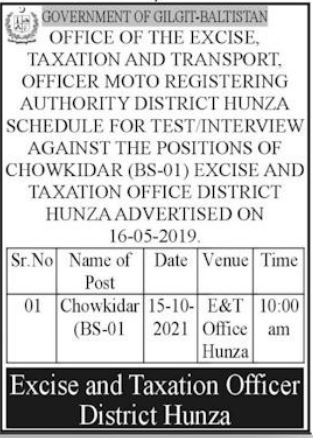 Excise & Taxation Transport & Narcotics Control Jobs 2021