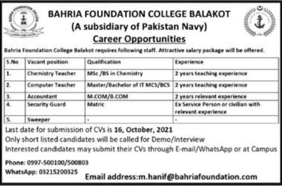 Bahria Foundation College Balakot Jobs 2021 for Teacher
