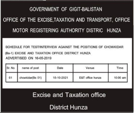 Excise & Taxation Transport Department Hunza Jobs 2021