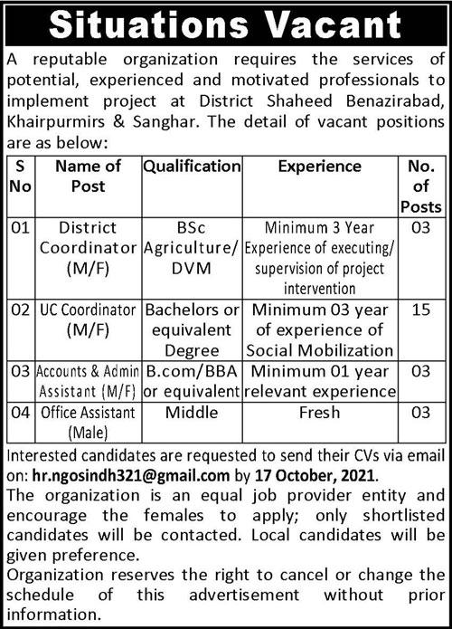 District Coordinator & UC Coordinator Jobs 2021 in Sanghar