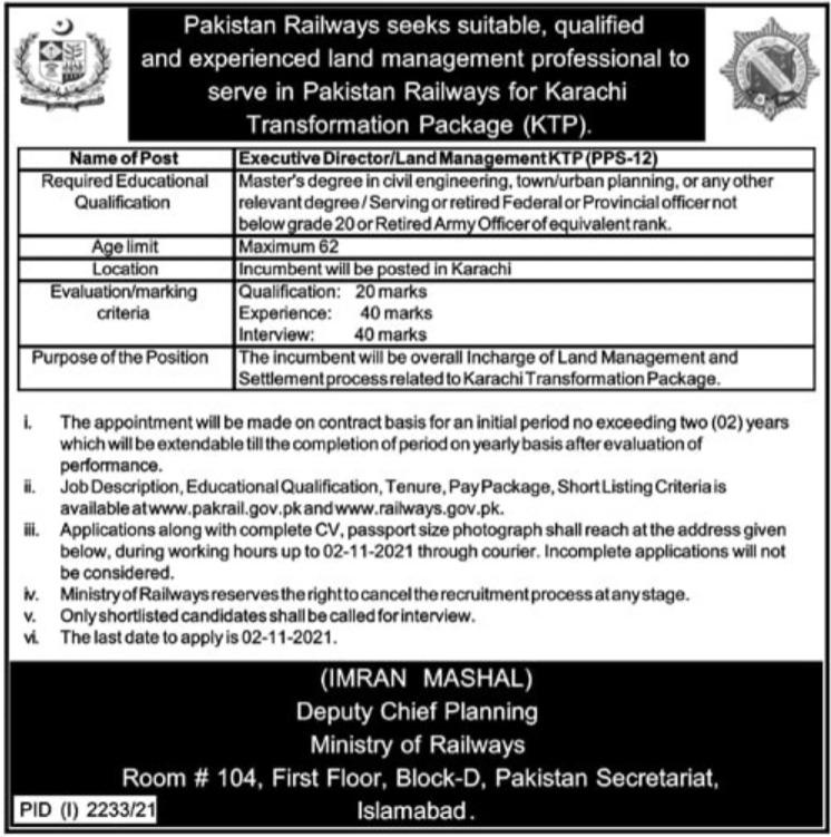 Pakistan Railways Karachi Jobs 2021 for Executive Director
