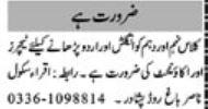 Subject Teacher & Female Teacher Jobs 2021 in Peshawar