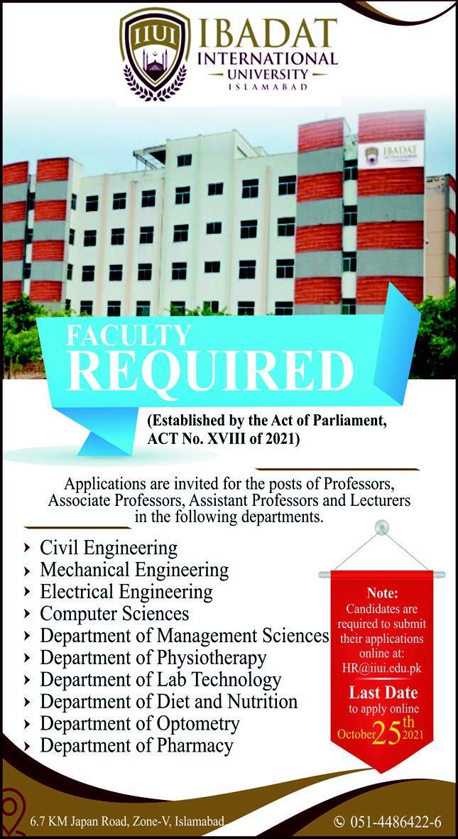 Ibadat International University Jobs 2021 for Professors
