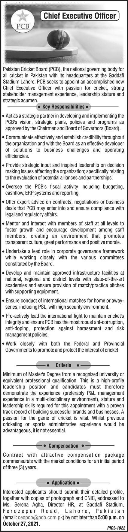 Pakistan Cricket Board PCB Lahore Jobs 2021 for CEO