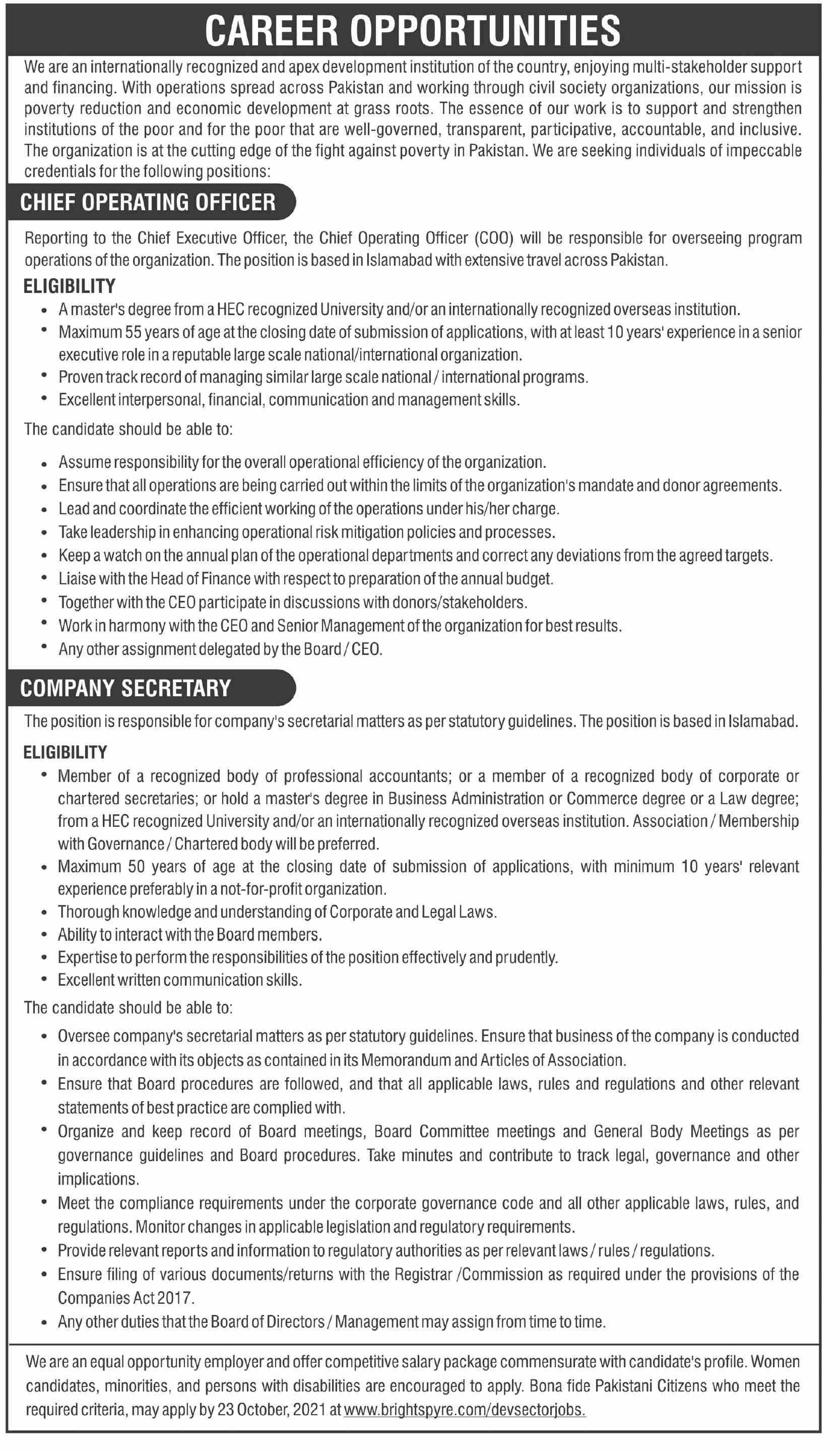 Chief Operating Officer & Company Secretary Jobs 2021