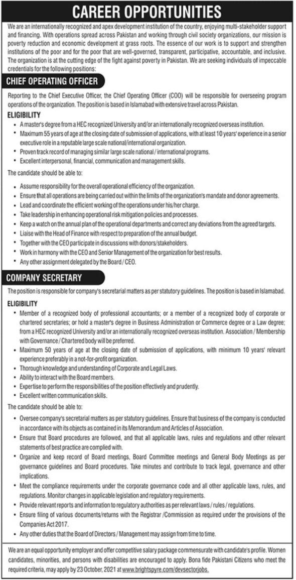 Chief Operating Officer & Company Secretary Jobs in Karachi