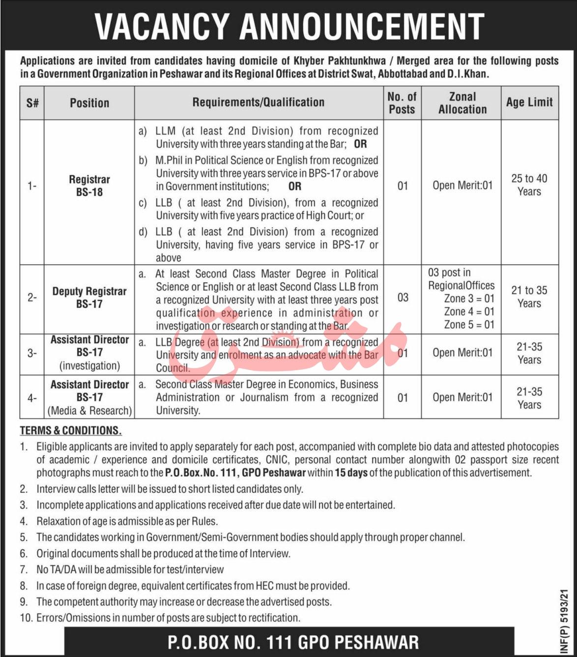 Government Organization Peshawar Jobs 2021 for Registrars