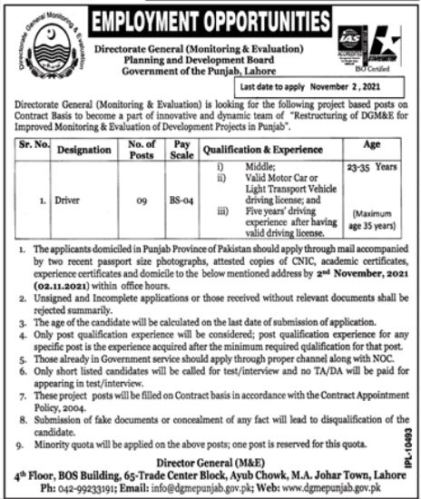 Mines & Mineral Development Department Lahore Jobs 2021