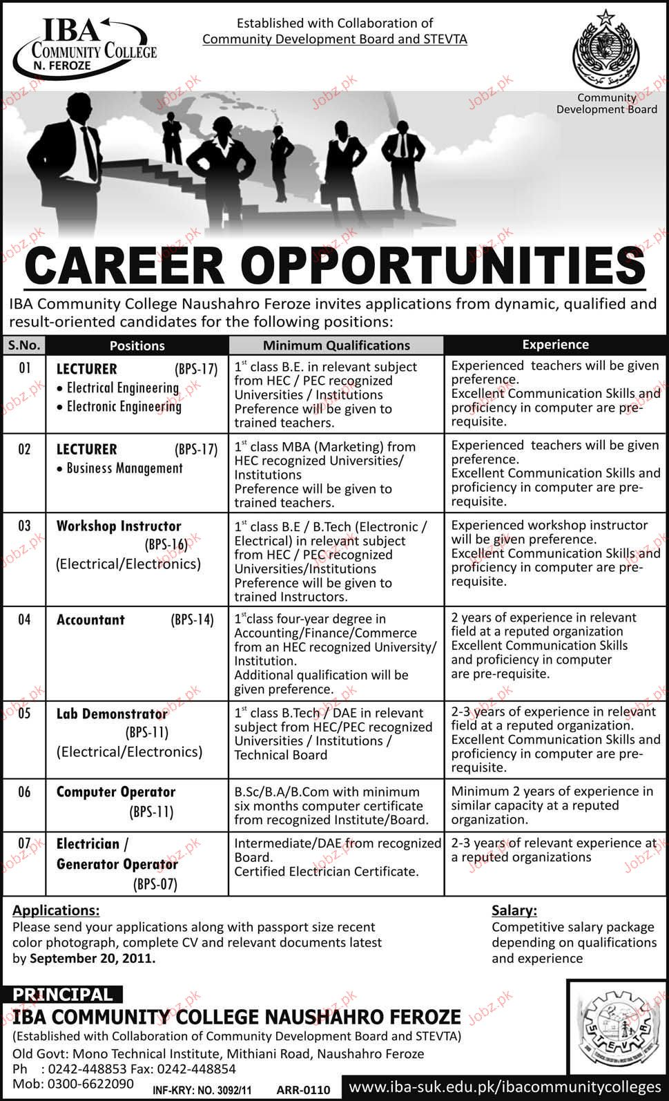Lecturers, Workshop Instructor, Accountant Job Opportunity