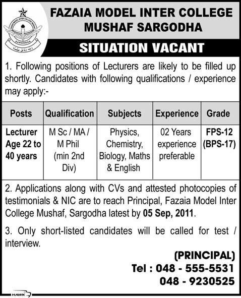 College Jobs for Lecturers