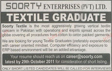 Textile Graduate Job Opportunity