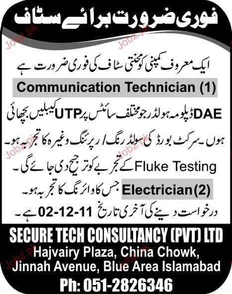 Communication Technicians and Electricians Job Opportunity