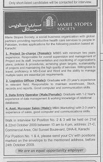 Marie Stopes Society Pvt Limited Job Opportunities