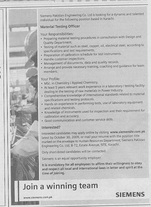 Siemens Pakistan Engineer Co. Ltd Job Opportunities