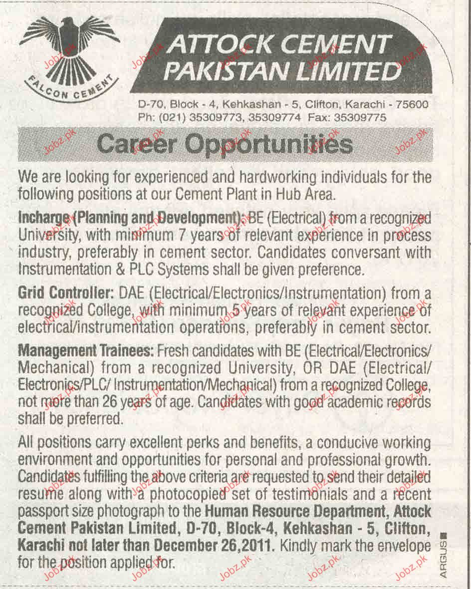 Incharge Planning & Development Job Opportunity