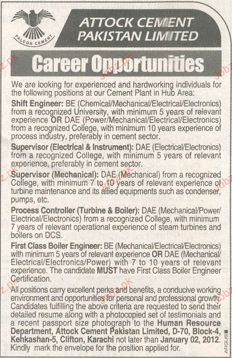 Shift Engineers, Supervisor, Process Controller Required