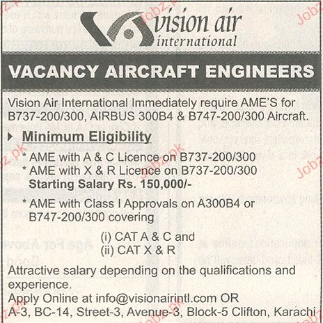 Aircraft Engineers Job Opportunity